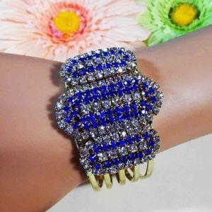 Blue Sapphire & CZ Hinged Bangle Bracelet E